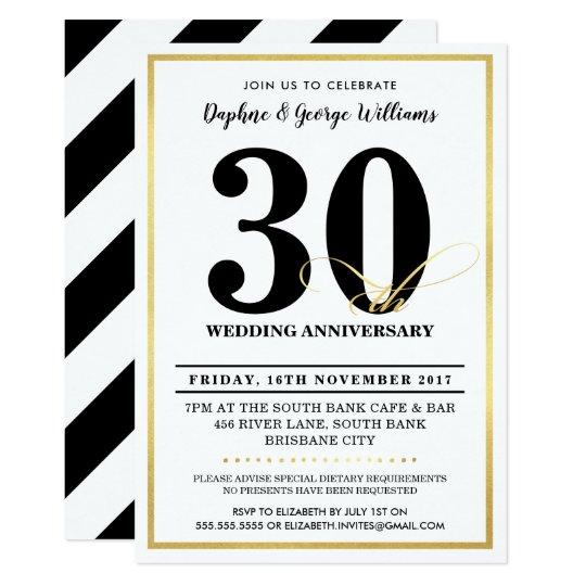 30TH WEDDING ANNIVERSARY stylish gold INVITES