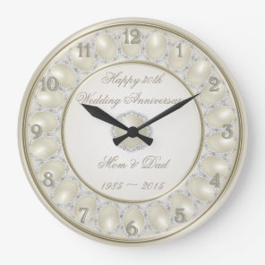 30th Wedding Anniversary Wall Clock