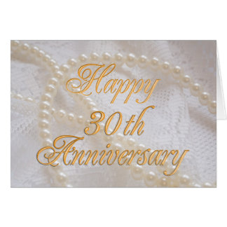 30th wedding anniversary with lace and pearls greeting card