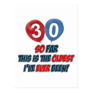 30th year birthday designs postcard
