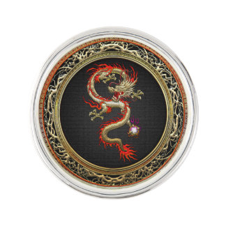 [310] Golden Chinese Dragon Fucanglong Lapel Pin
