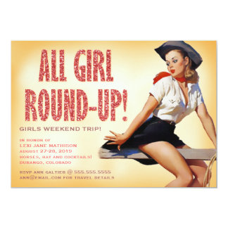 311 All Girl Round-up Cowgirl Pinup Girl Sparkle 13 Cm X 18 Cm Invitation Card