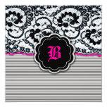 311-Alluring Lace - Hot Pink 13cm X 13cm Square Invitation Card