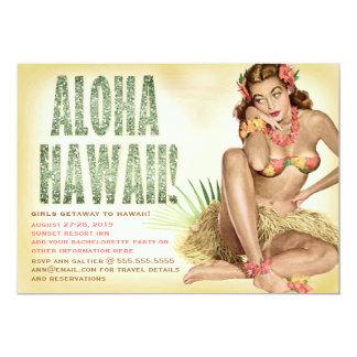 311 Aloha Hawaii Retro Pinup Girl 13 Cm X 18 Cm Invitation Card