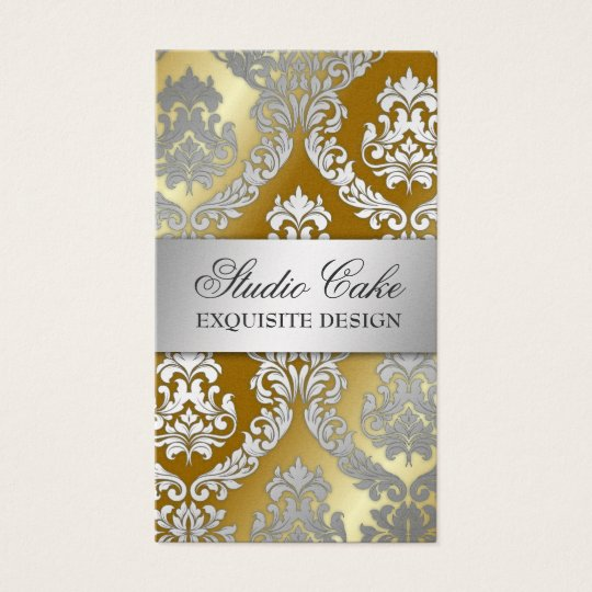 311 Alonnah Damask Golden Metallic Business Card
