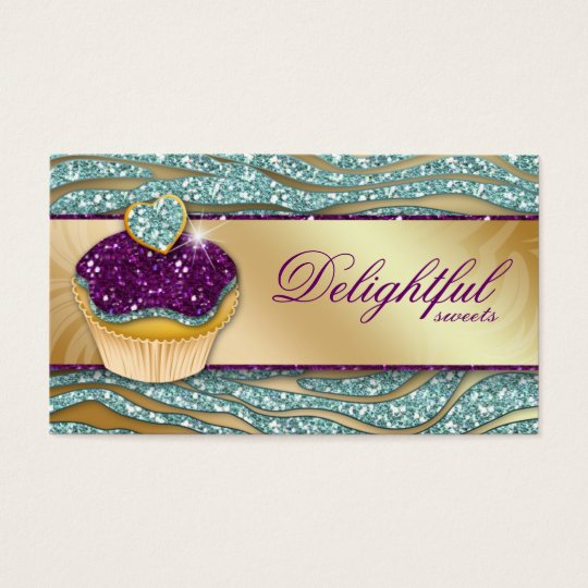 311 Bakery Business Card Zebra Cupcake Sparkle Tea