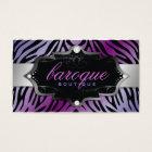 311 Baroque Boutique Purple Flirt Zebra Business Card