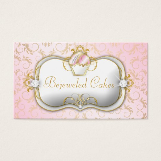 311 Bejeweled Cakes Pink Gold Damask Business Card