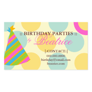 311-BIRTHDAY PARTY PLANNER PINK PACK OF STANDARD BUSINESS CARDS