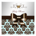 311 Blackberry Brown Damask Blue Brown Personalized Announcements