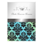 311-Blackberry Damask Ribbon  Turquoise Lime Announcement