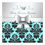 311-Blackberry Turquoise Damask Bow | Sweet 16 13 Cm X 13 Cm Square Invitation Card