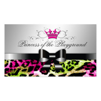 311 Bow-licious Hot Lime Pink Leopard Business Card Templates