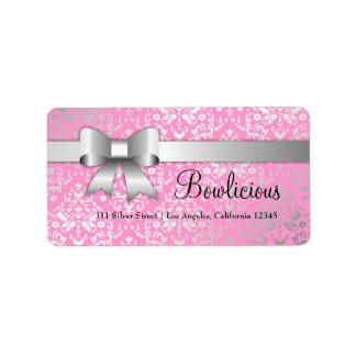 311 Bow-Licious Silver Label Dazzling Damask Pink Address Label