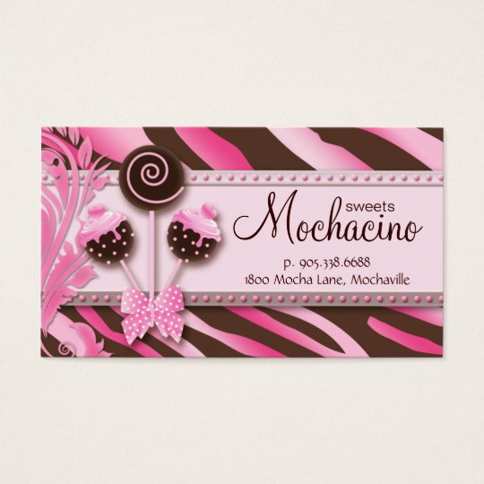 311 Cake Pops Business Card Bakery Pink Brwn