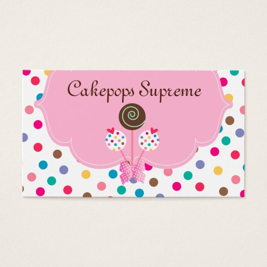 311 Cake Pops Business Card Polka Dots Pink