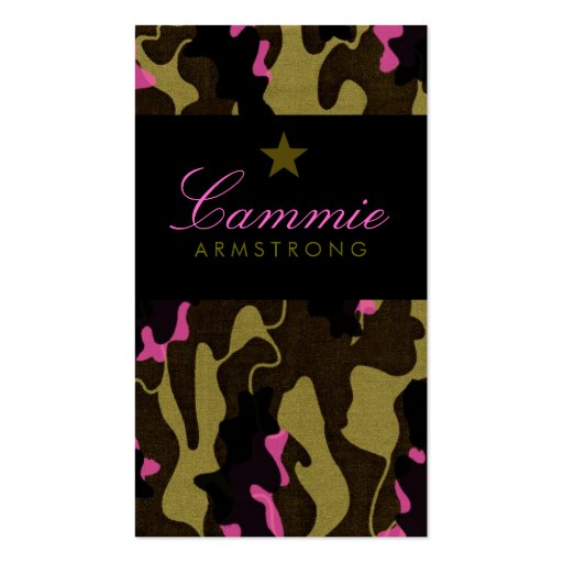 311-CAMO STAR PINK PACK OF STANDARD BUSINESS CARDS