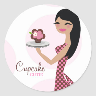 311-Candie the Cupcake Cutie Black Straight Hair Classic Round Sticker