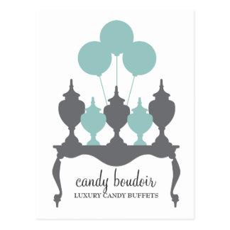 311 Candy Boudoir Rococo Robin Egg Blue & Gray Pos Postcard