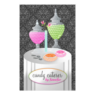 311-Candy Caterer | Gray Damask 14 Cm X 21.5 Cm Flyer