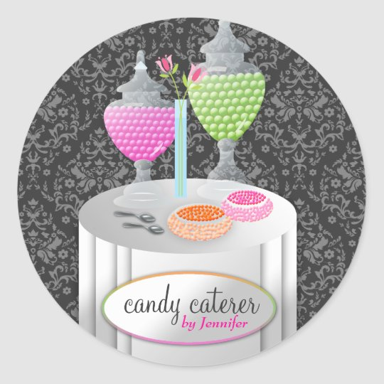 311-Candy Caterer | Grey Damask Classic Round Sticker