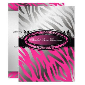 311 C'est Luxueux | Hot  Pink Zebra | Sweet 16 17 Cm X 22 Cm Invitation Card