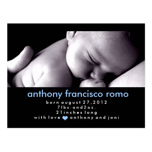 311-CHIC BABY BOY ANNOUNCEMENT POSTCARDS