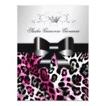 311 Chic Hot Pink Leopard Bow Metallic 17 Cm X 22 Cm Invitation Card