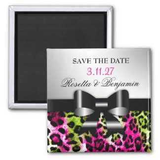 311 Chic Hot Pink Lime Leopard Bow Save the Date Square Magnet