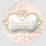 311 Ciao Bella Bejeweled Cakes Pink Background Round Sticker