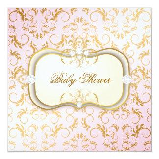 311 Ciao Bella Golden Cream Divine Pink Baby 13 Cm X 13 Cm Square Invitation Card