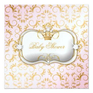 311 Ciao Bella Golden Divine Pink Baby Shower 13 Cm X 13 Cm Square Invitation Card