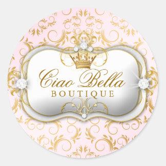 311 Ciao Bella Golden Divine Pink Round Sticker