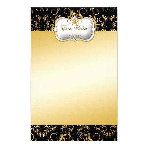 311 Ciao Bella Golden Divine Rich Custom Stationery