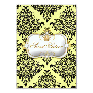 311 Ciao Bella & Lovey Dovey Damask Lemon Ice 13 Cm X 18 Cm Invitation Card