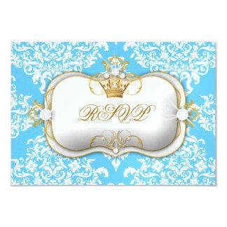 311 Ciao Bella & Lovey Dovey Damask Snow Blue 9 Cm X 13 Cm Invitation Card