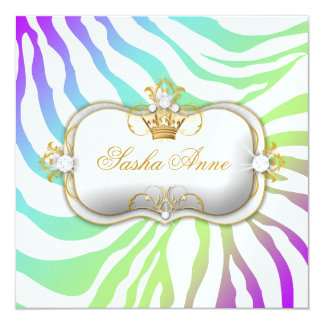 311 Ciao Bella Zebra Amethyst Rainbow Kiss 13 Cm X 13 Cm Square Invitation Card