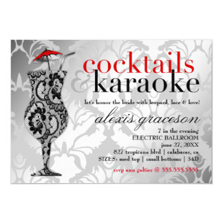 311 Cocktails & Karaoke Red Damask Card