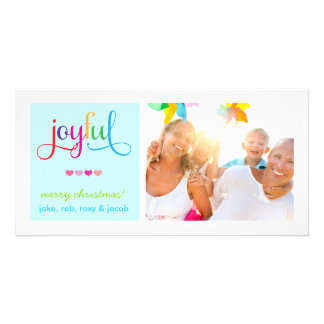 311 Colorful Joyful Christmas Card Hearts Blue Personalized Photo Card