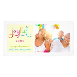 311 Colorful Joyful Christmas Card Hearts Yellow Photo Cards