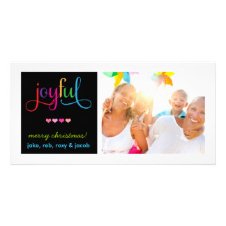 311 Colorful Joyful Christmas Card with Hearts Picture Card