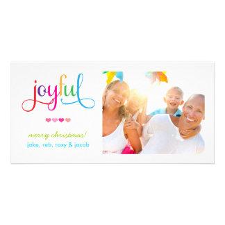 311 Colorful Joyful Christmas Card with Hearts Photo Card