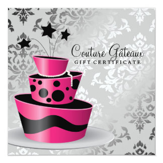 311 Couture Gâteaux Gift Certificate Hot Pink 13 Cm X 13 Cm Square Invitation Card