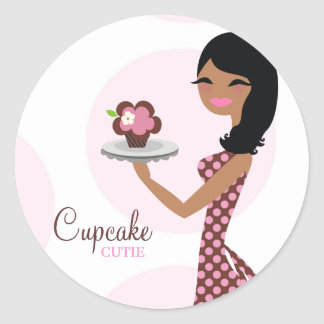 311-Cupcake Cutie Ethnic Wavy Hair Round Sticker