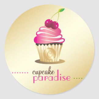 311-Cupcake Paradise Monogram Round Sticker