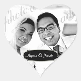 311-Customizable Heart Photo Sticker w Name Plate