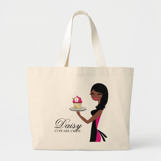 311 Daisy Cupcake Cutie African American Large Tote
