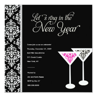 311-Damask Glass 2   New Years Eve Card