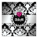 311-Damask Queen of Hearts Sweet 16 BW Invitations