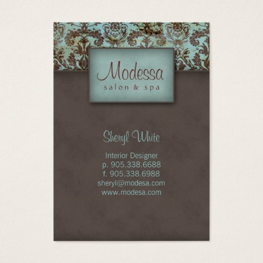 311 Damask Salon Spa Appointment Card Blue Brown